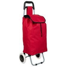Trolley sacca per la spesa con 2 ruote carrello con borsa pieghevole rosso nuovo