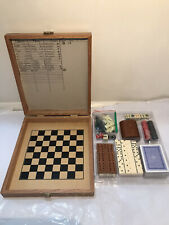 Chess, Draughts, Dominoes, Cribbage, Poker Dice And 2 Decks Of Cards Set Vintage