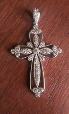 STERLING SILVER CZ FILIGREE CROSS RELIGIOUS  PENDANT CHARM - 5.6 GRAMS