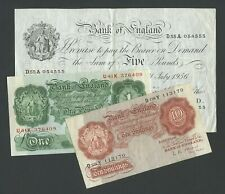 More details for bank of england  £5 £1 10s o'brien 1956  type set   banknotes