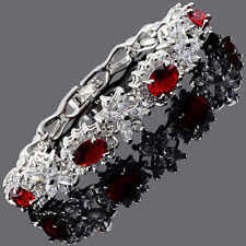Thanksgiving Xmas Fashion Oval Cut Red Ruby White Gold Plated Tennis Bracelet