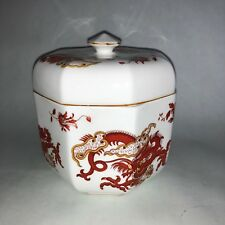 Crown Staffordshire England Rangoon Dragons Bone China Lidded Octagon Box RARE