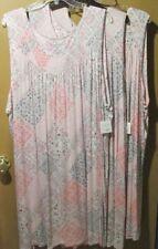 Croft & Barrow sleeveless nightgown Ladies 4X pink gray rayon blend (8-1508B2)