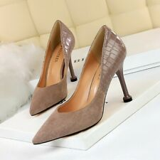 Womens High Heels Pumps Pointed Toe Snake Pattern Suede Shoes Party Nightclub