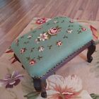 Vintage Green And Pink Victorian Roses Floral Needlepoint mahogany Foot Stool