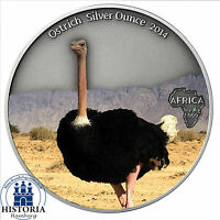 Afrika Serie: Gabun 1000 Francs 2014 Antique Finish Strauß Silver Ounce in Farbe