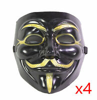 4 Black V for Vendetta Guy Fawkes Anonymous Costume Halloween Cosplay Masks