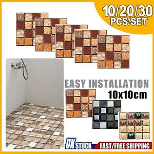 Mosaic Tile Stickers Stick On Bathroom Kitchen Home Wall Decal Self-adhesive