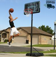 """Basketball Hoop 44"""" Portable Adjustable 7.5 to 10 Ft. High Outdoor Sports Black"""