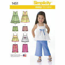 Simplicity Easy SEWING PATTERN 1451 Toddlers Dresses,Cropped Pants, Shorts 1/2-4