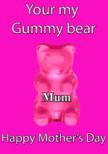 Gummy Bear Happy Mother's Day Card Pink chmd25 A5 Personalised Greetings