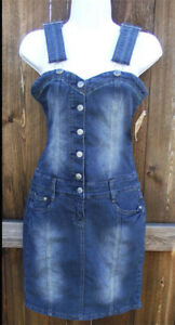HINT JEANS SOLID BLUE COTTON CASUAL SHIFT DENIM SLEEVELESS KNEE DRESS 3 NEW