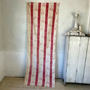 Antique French striped faded floral with trim textile The Textile Trunk