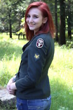 Vintage 70s Army Green Wool MEDIC Womens Fitted Retro Jacket Coat Hipster S M