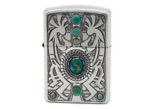 Zippo Indian Spirit Kokopelli with Natural Stone/ RARE Model from JAPAN !