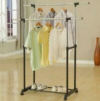 Dual-bar Vertical & Horizontal Stretching Stand Clothes Rack with Shoe Shelf US