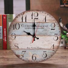 Antik Wanduhr Quarz , D 31,5cm , lautlos kein Ticken ,Holz Uhr + Haken Retro