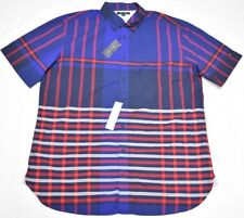 2374c10fd Tommy Hilfiger Button Down Shirt Men Size XLT Speed Plaid Stripes Blue B&t  P219