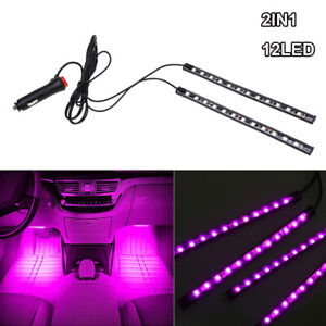 12 LED Pink Car Interior Accessories Floor Decorative Atmosphere Lamp Light 2x