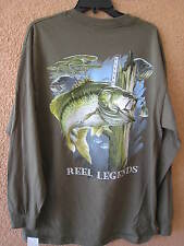 REEL LEGENDS MEN'S LG OLIVE ASSORTED FISH LONG SLEEVE T-SHIRT (NWT)