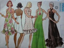 VINTAGE 1970'S VOGUE HALTER SHORT & MAXI EVENING DRESS SEWING PATTERN