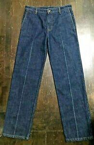 New HELMUT LANG Women Hi Rise Creased Front Wide Indigo Denim Jeans 32 Free Ship