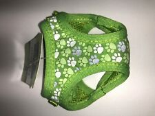 XXS Top Paw Comfort Harness Green Paw Pattern, Reflective (8in-10in)