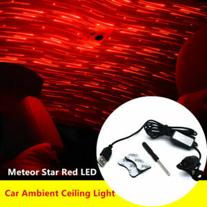 Meteor Star Red LED Car Ambient Ceiling Light USB DIY Galaxy Lamp Projector 1.5M