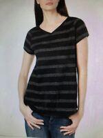XS Eileen Fisher Striped Organic Hemp Cotton Blend Black V-Neck Short Sleeve Top