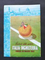 CARTOLINA RICORDO PARTITA ITALIA-INGHILTERRA, FIRENZE 18 MAGGIO 1952, VIAGGIATA