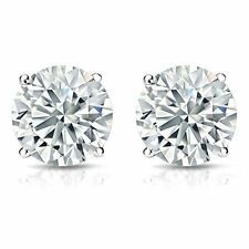 2.15ct ROUND CUT Certified diamond stud earrings 14k WHITE GOLD D VS1 NATURAL