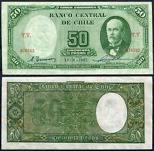 CHILE 50 Pesos 1947 Pick 104  MBC /  VF