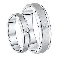 El Y Ella titanio alianza con diamante 5mm & 7mm
