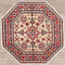 OCTAGON IVORY Super Kazak 3 ft Oriental Rug Hand-Knotted Kitchen Carpet WOOL