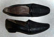 SESTO MEUCCI - SMOOTH & WOVEN BLACK LEATHER LOAFERS FLATS - LADIES 7.5S