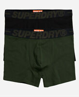 Superdry Mens New Double Pack Trunks Boxer Shorts Underwear Black Khaki