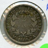 1808 A France Silver Coin - 2 Francs - French Napoleon - RY820