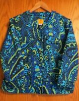 Ruby Rd. Women's size 14 L royal blue lime green button up short blazer jacket