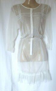WHITE EMBROIDERED BEACH DRESS SIZE 12 UK (EU 40)
