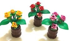 *NEW* 3 Lego RED YELLOW DARK PINK Flowers with ROUNDED Brown CONTAINER