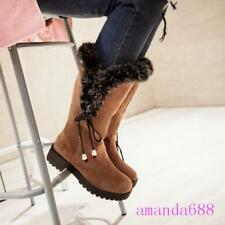 New Winter Warm Women's Mid-calf Faux Fur Decor Mid-calf Cotton Shoes Snow Boots