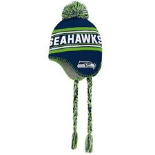 Seattle Seahawks Youth College Navy/Neon Green Jacquard Tassel Knit Hat with Pom