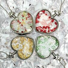 Silver Plated Rhinestones Glass Heart Bottles Pendant Necklace Various Colours