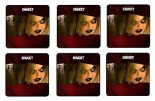 "SEED OF CHUCKY BEVERAGE COASTERS ( TIFFANY ) 1/4"" BAR & BEER SET OF 6"
