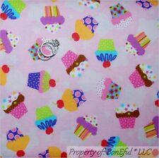 BonEful Fabric FQ Flannel Cotton Quilt VTG Pink Red Girl Cherry Cupcake Birthday