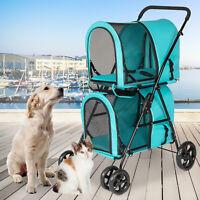 Dog Cat Stroller Cage Walk Travel Carriage 2 Decker Folding Carrier Pet Supply