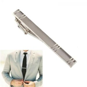 Silver Formal Metal Tie Clip Holder 60mm Stainless Steel Clasp Mens Bar Pin