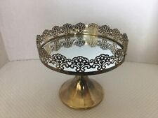 "7"" Mirror Dessert Cake Stand Round Steel Metal Wedding Event Display Pedestal"