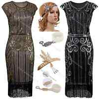 1920's Flapper Costume Dress Great Gatsby Fringed Fancy Sequin 1920s Party Prom