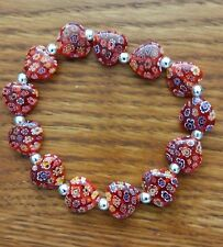LADIES BRACELET GLASS HEART BEADS CRAFTED W/SOLID 925 STERLING SILVER ADJ NWT